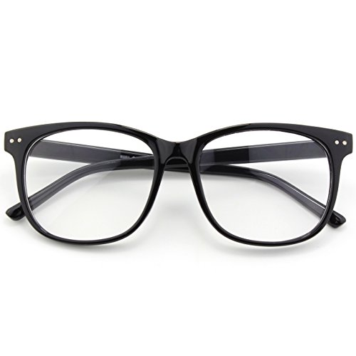 Happy Store CN81 Large Oversized Bold Frame UV 400 Clear Lens Horn Rimmed Glasses,Glossy Black