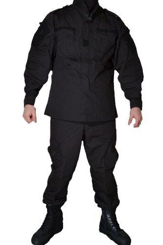 ブラック 黒 ベルクロ付 SWAT仕様 特殊火器戦術部隊 レプリカ BDU 迷彩服 戦闘服 ジャケット&パンツ 上下セット (S)