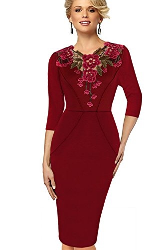 Elegante bordado manga 3/4 Bodycon Vestido de la mujer Red