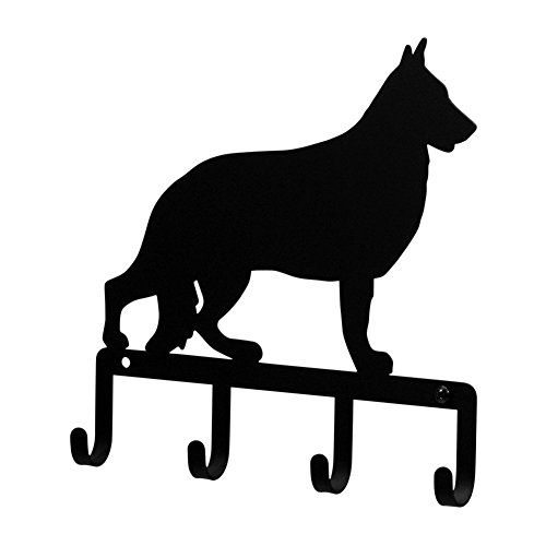 Pet Leash Holder (Iron German Shepard Dog Key Rack / Jewelry Holder / Pet Leash Hanger - Black Metal)