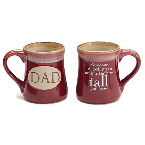 Dad Ceramic 18 oz. Coffee Mugs with Inspirational Message (Burgundy)