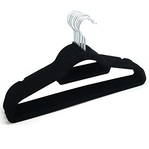 80 BLACK NON SLIP LUXURY FLOCKED COAT HANGERS VELVET CLOTHES TROUSER HANGING SPACE SAVING by Guaranteed4Less