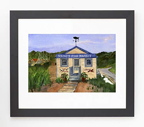 Framed and Matted Orleans Fish Market Cape Cod, Giclee Print