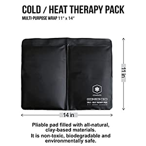 "Hot Cold Clay Pack for Knee or Joint Pain by IceWraps - 11""x14"" Reusable Cold Pack / Microwavable Hot Pack with Moldable Healing Clay, Upgraded Black TPU Lining Will Not Crack or Leak, Standard Size"