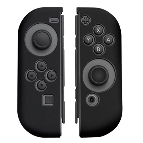 Price comparison product image For Nintendo Switch Anti-slip Silicone Cover Skins Case for Joy-Con Controller (Black)