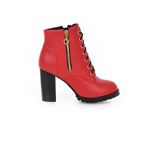 AllhqFashion Womens Round Closed Toe Low Top High-Heels Solid Pu Boots Red b8TdF