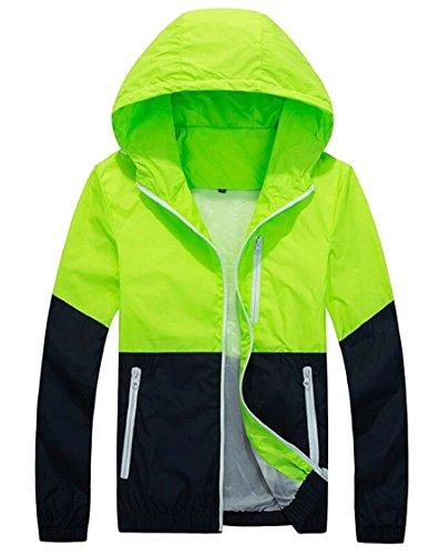 Gocgt Lightweight Men's Hooded Full Sleeve Zip Jacket Long Colorblock Windbreaker 4 r4r5dwxSq