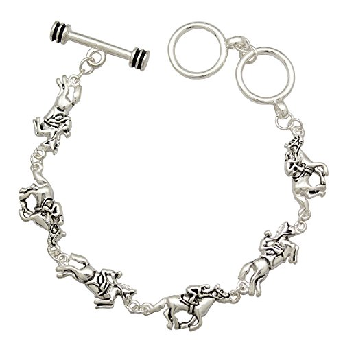 Silver Plated Q&Q Fashion Rodeo Jockey & Race Horse Thoroughbred Charms Buckle Toggle Bangle Bracelet