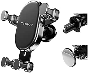 Car Phone Holder 2 In 1, Tekpatt Gravity Air Vent Car Phone Mount & Dashboard Phone Holder Stand Car Cradle Auto Clamping Mobile Holder for Car Accessories, Compatible for iPhone Samsung, Huawei