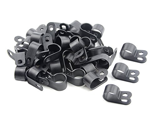 TOVOT 100 PCS R-type Clip Cable Clamp 1/2 (13 mm) Black Nylon Screw Wire Clips Fasteners Tubing Clips for Wire Management