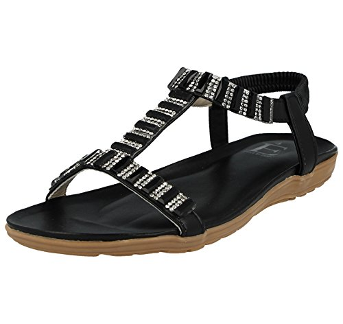 Metallic Ladies Black Shoes Pewter Sling Diamante Jewel Detail Wedge Jewel Emma Foster Flat Bar Back 8 3 by T Size Footwear Low Sandals Open Elastic Toe w5qxEcXSp