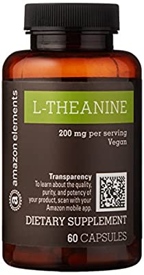 Amazon Brand - Amazon Elements L-Theanine, 200mg, 60 Capsules, 2 month supply