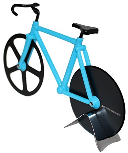 Artlux Kitchen Pizza Cutter gift- Bicycle Pizza Cutter Dual Stainless Steel Slicing Bike Wheels (Blue/Black) (Bike Pizza Cutter Fixie)