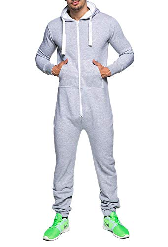Men's Unisex Onesie Jumpsuit Elegant One Piece Pajama Playsuit Men's Sleepwear All in One (XX-Large, Gray) (Men All In One Pajamas)