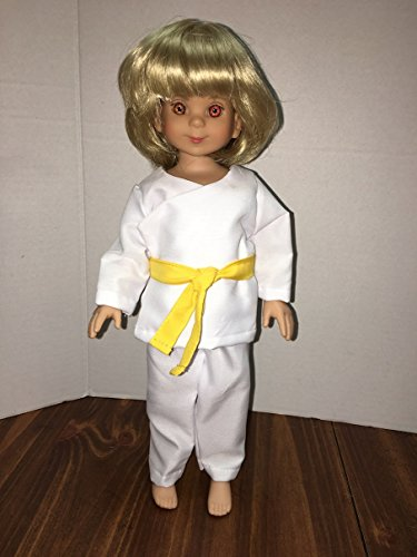Fits 13 -14 inch Betsy Mccall Tonner Doll or Little Darling Effner Doll Clothes Karate Martial Arts Yellow Belt Costume Top Pants Set ( No doll, Clothes only)