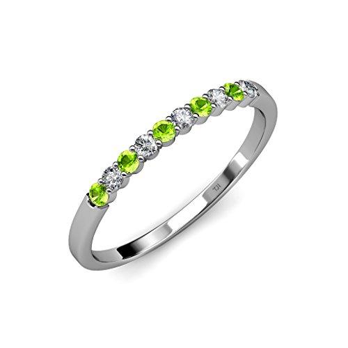 Peridot and Diamond (SI2-I1, G-H) 10 Stone Wedding Band 0.55 ct tw in 14K White Gold.size 7.5 (0.55 Ct Tw Diamond)