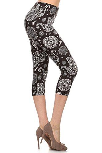 R521-CA-OS Elephant Mandala Capri Print Leggings