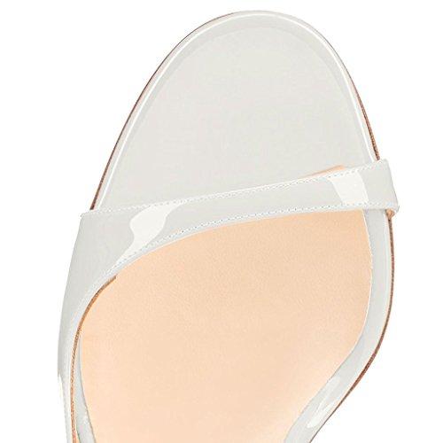 Toe Edefs Peep Col Scarpe White High Da Heels Tacco Donna Sandali rnYrqw50