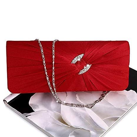 b52a9ac0b9 JAGENIE sera borsetta borsa da donna con strass catena spalla pochette da  sposa, Satin, Red, 25.8 x 15.7 x 5.3cm: Amazon.it: Casa e cucina