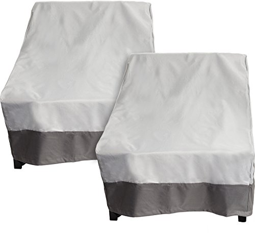 2 Pack Deep Chair Patio Cover - Outdoor Furniture Cover (Grey w/Dark Grey Trim) (Revolution Skirt)