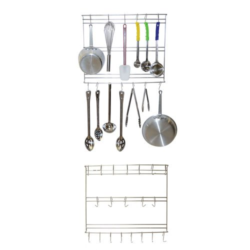 Wall Mount Utensil Rack - Stainless Steel - 18'' x 24'' w/ 20x Hooks by Vision