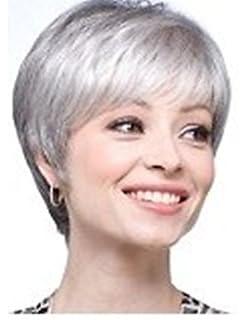 Perruque cheveux gris blanc