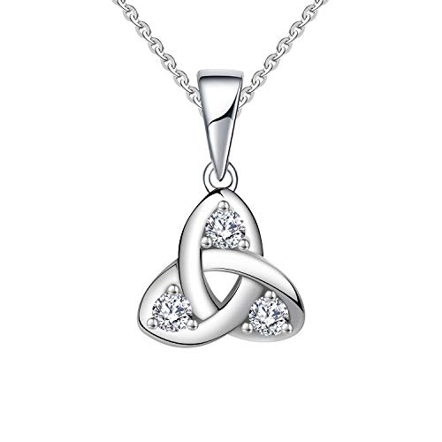 - JO WISDOM 14k White Gold 0.13ct Diamond Celtic Love Knot Pendant Necklace,(S1 clarity, HI colour) chain 45-50cm