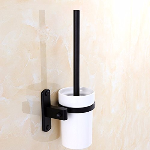 HYP Black toilet brush set antique space aluminum toilet brush holder bathroom toilet brush hotel hardware pendant