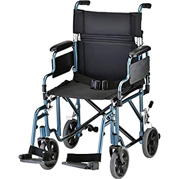 Image of NOVA Lightweight Transport Chair with Removable & Flip Up Arms for Easy Transfer, Anti-Tippers Included, Blue Health and Household