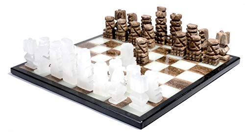 Handcrafted Aztec Style Brown & White Onyx Weighted Chess Set - 13.5