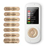 Voice Language Translator Device 45 Languages Voice Translator Device Pocket Smart Two Way Translator WiFi 2.4inch Touch Screen Portable Translation for Learning Travel Business Shopping (Black)