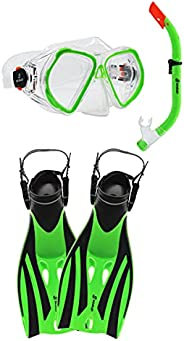 SCAUP Snorkeling Set for Kids - Recreational Diving Mask, Dry-Top Snorkel and Swim Fins Kit, for Youth