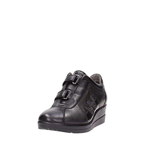 R0804NERO Scarpa donna sneaker zeppa velcro Melluso pelle made in Italy