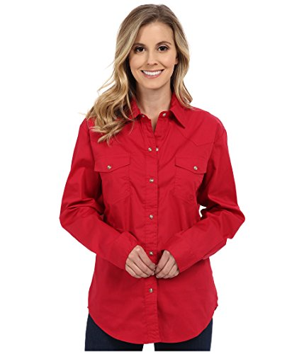 - Roper Women's Solid Poplin L/S Shirt, Red, LG