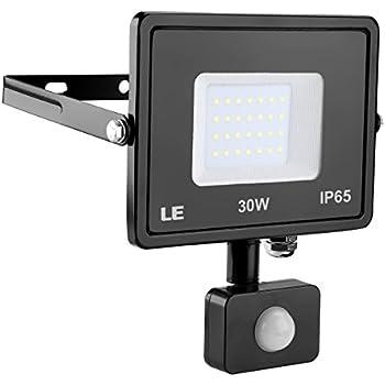 LE 30W Motion Sensor Flood Lights, 2400 Lumen Super Bright Outdoor LED Floodlights, Daylight White 5000K 75W HPSL Equivalent, Waterproof, Security Lights and Work Light (No Plug)