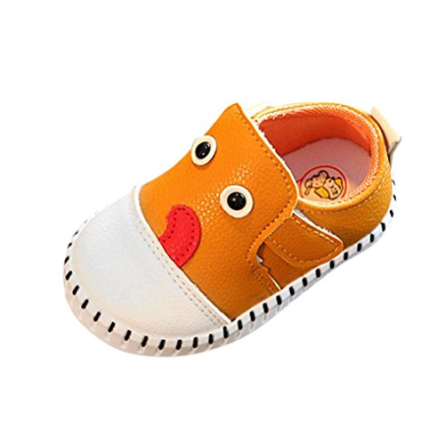 JIANGFU Jungen und Mädchen Cartoon Welpen Leder Soft Sohlen Schuhe, Baby Fashion Sneaker Kind Mädchen Jungen Cartoon Casual Warm Druck Anti-Rutsch-Schuhe Gelb
