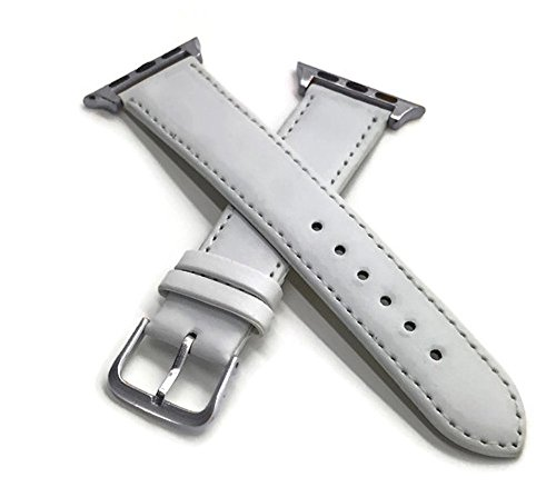 Fine White Italian Leather Watch Band with chrome buckle and connectors for 38mm Apple Watch with Silver Gift (Watch Chrome Leather Band)