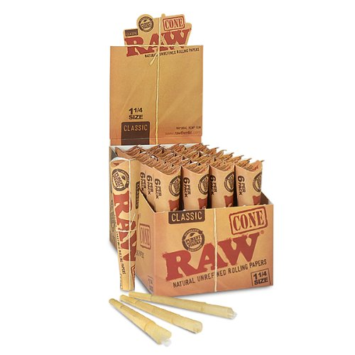 192 RAW Rolling Paper Cones Natural Hemp - full box 32 packs of 6 by RAW