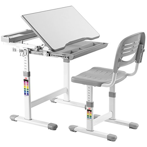 41Y5tKsSdLL - VIVO Height Adjustable Children's Desk and Chair Set, Grey