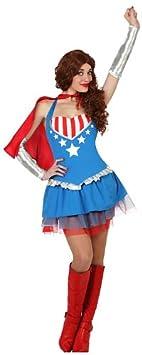 Atosa - 23126 - Disfraz Heroe Comic - talla M-L - Color Azul para Mujer Adulto: Amazon.es: Juguetes y juegos