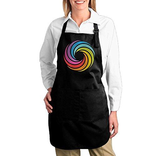 Dogquxio Rainbow Circle Kitchen Helper Professional Bib Apron With 2 Pockets For Women Men Adults Black