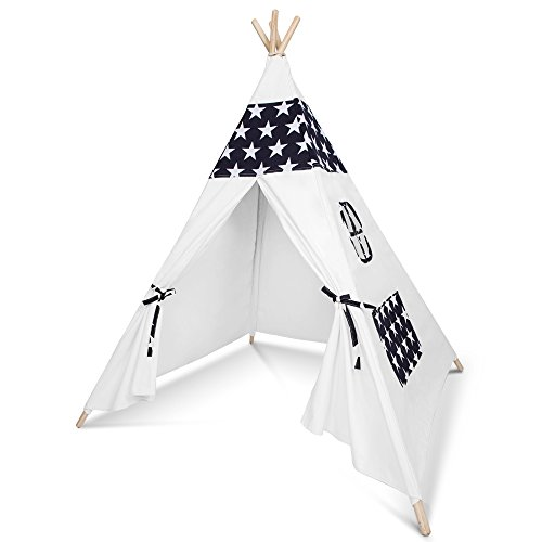 Kids Teepee Play Tent - 5' Feet Tall Large Handcrafted Indoor Indian Tent by Wonder Space, Ideal Activity Play Center Playroom for Toddlers and Children (Blue Star) (Handmade Heritage Panels)