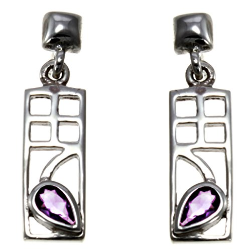 Sterling Silver Charles Rennie Mackintosh Amethyst Earrings