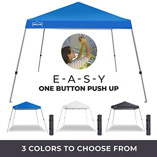 PORTA-POP One Button Easy Pop Up 10x10 ft Portable Folding Canopy Slant Leg Instant Shelter with Carry Bag, Blue
