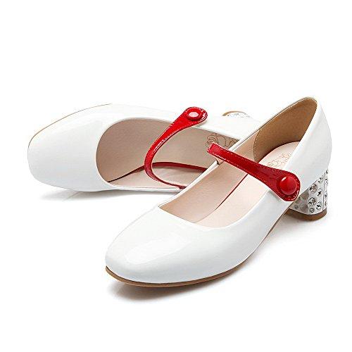 AllhqFashion Womens Kitten Heels Assorted Color Pull On Square Closed Toe Pumps-Shoes White NsMggzU