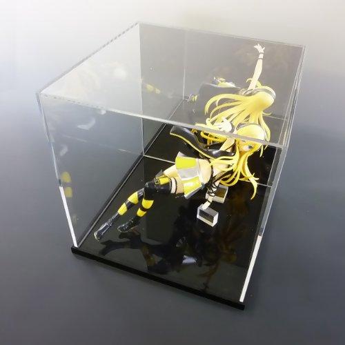 【台座 = 落とし込みタイプ 黒 10mm】 透明アクリルケース 背面ミラー W450mm H300mm D300mm W450mm H300mm D300mm  B01EC06CKA