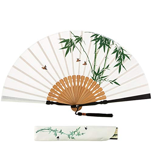 BingGoGo Handmade Hand-Painted Cotton and Linen Handle Folding Fan,Antique Japanese Style (Bamboo Bird)