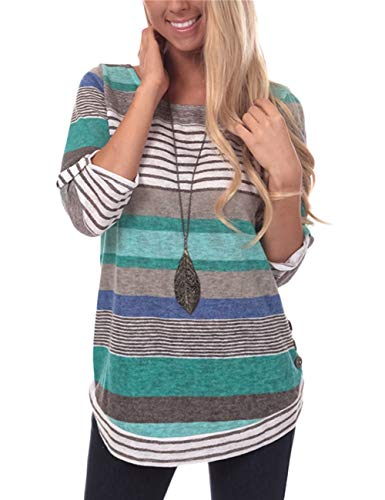 - Women's Casual Striped T-Shirt Loose Fit Tunic Tops Round Neck Button Top Blue