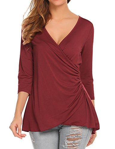 Pleated Wrap Top Shirt - Women Sexy V-Neck 3 4 Sleeve Lace Patchwork Wrap Pleated Slim Shirts Ruched Blouse Top,Wine Red,X-Large