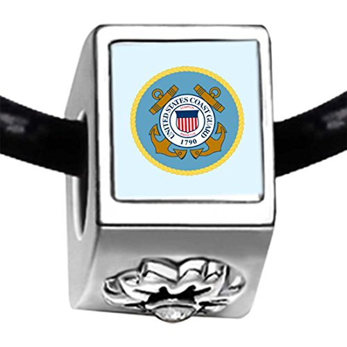Character Coast Guard Photo White Crystal(April Birthstone) Flower Bead Charm (Coast Guard Charm)